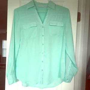 New York and Co Sheer Mint Blouse